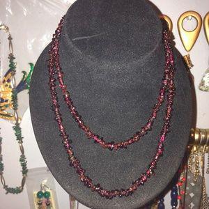 Jewelry - Long Garnet Chip Beaded Necklace